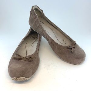 Ahnu Chocolate Chip Suede Arabesque Ballet Flats